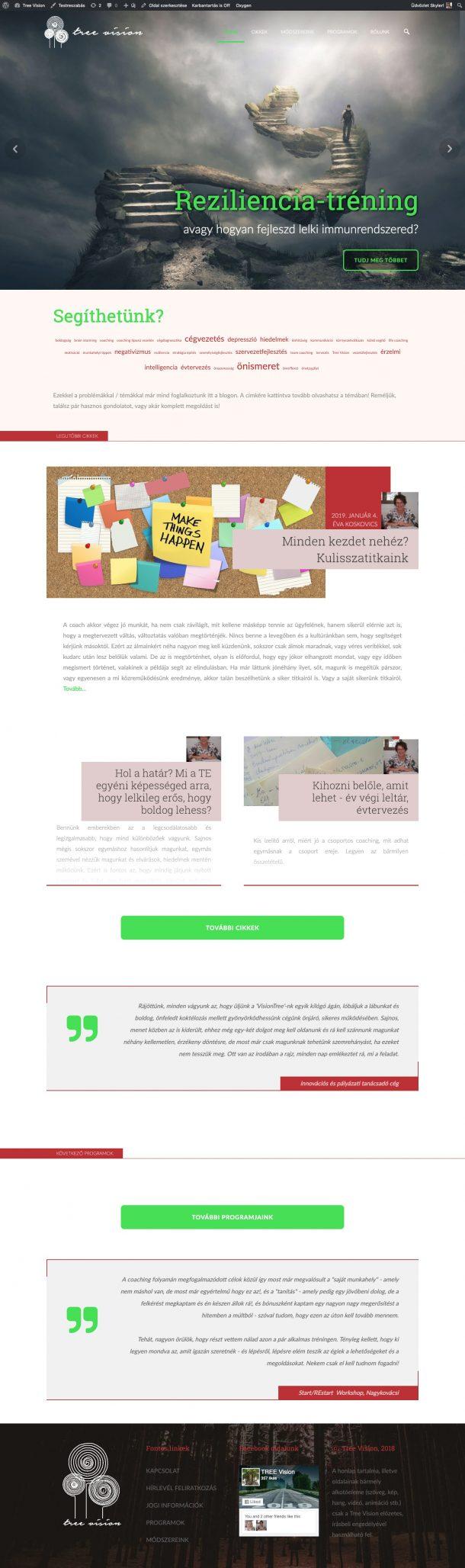 treevision.org - Üzleti sé személyes coachinggal foglalkozó weboldal designja és programozása